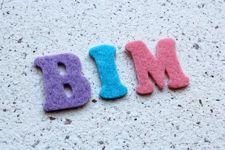 modeling: BIM (Building Information Modeling) acronym on handmade paper texture Stock Photo