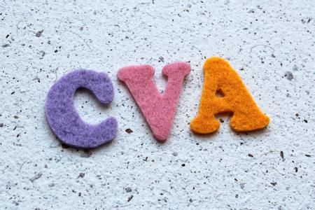 cva: CVA (Cerebrovascular Accident) acronym on handmade paper texture