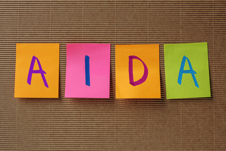 AIDA (Attention Interest Desire Action) marketing acronym on colorful sticky notes