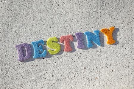 destiny word on handmade paper texture