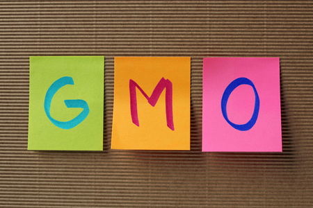 organisms: GMO (Genetically Modified Organisms) concept on colorful sticky notes