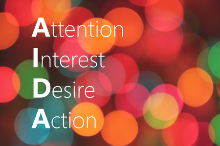 AIDA (Attention Interest Desire Action) acronym, marketing concept Stock Photo