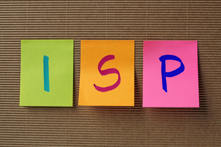 isp: ISP (Internet Service Provider) acronym on colorful sticky notes