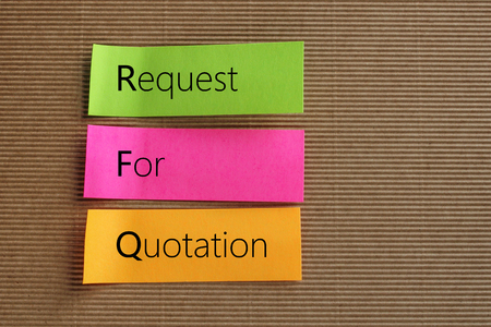 RFQ (Request For Quotation) acronym on colorful sticky notes