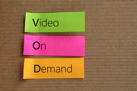 telecast: VOD (Video On Demand) acronym on colorful sticky notes Stock Photo