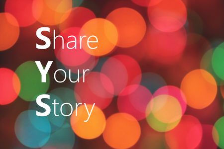 narrate: Share Your Story text on colorful background bokeh