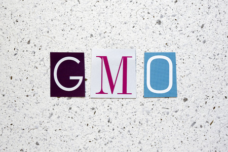 organisms: GMO (Genetically Modified Organisms) acronym cut from newspaper on white handmade paper texture