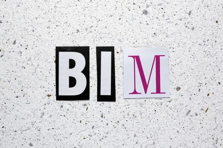 modeling: BIM (Building Information Modeling) acronym cut from newspaper on white handmade paper texture