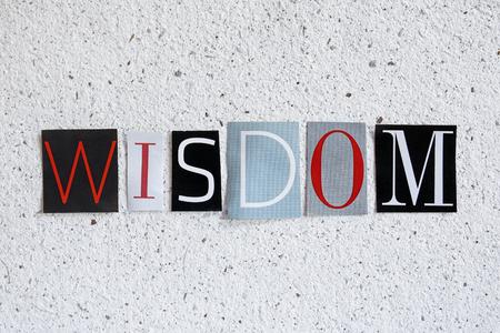 wisdom word on handmade paper texture Banco de Imagens