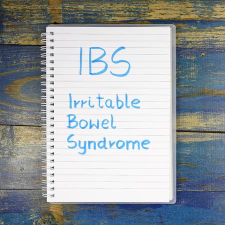 bowel: IBS- Irritable Bowel Syndrome written in notebook