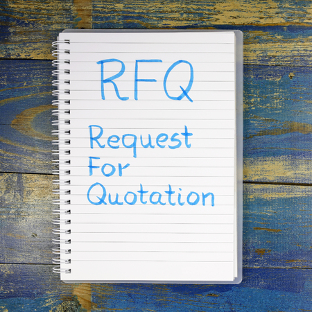 RFQ- Request For Quotation written in notebook