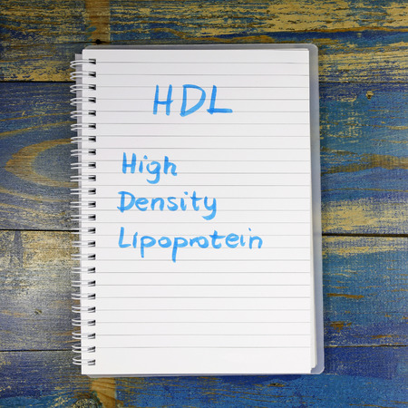 lipoprotein: HDL high-density lipoprotein written in notebook