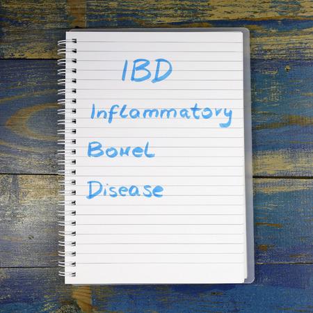 inflammatory: IBD - Inflammatory Bowel Disease diagnosis written in notebook