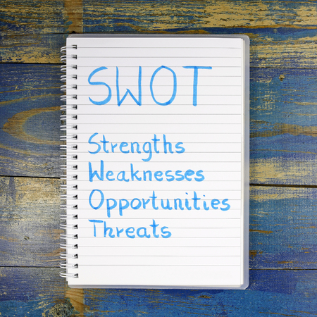 weaknesses: SWOT- Strengths Weaknesses Opportunities Threats written in a notebook on wooden background
