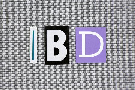 bowel: IBD (Inflammatory Bowel Disease) acronym on gray background Stock Photo