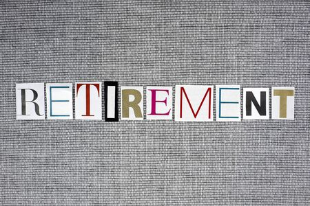 retirement word on gray background