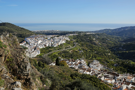 panoramic view of Frigiliana- one of the beautiful Spanish pueblos blancos in Andalusia, Costa del Sol Stock Photo