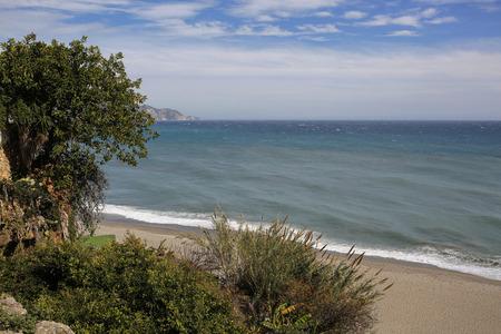 nerja: Carabeillo beach in Nerja, Costa del Sol, Spain Stock Photo