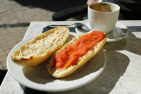 Spanish breakfast- coffee and toast with tomato and olive oil