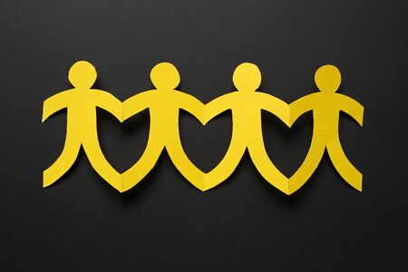 Yellow paper people, teamwork concept