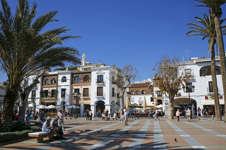 NERJA, COSTA DEL SOL, SPAIN, MARCH 12, 2017: Plaza Balcon de Europa, Nerja is a famous resort on Costa del Sol situated 50 km from Malaga. Editorial
