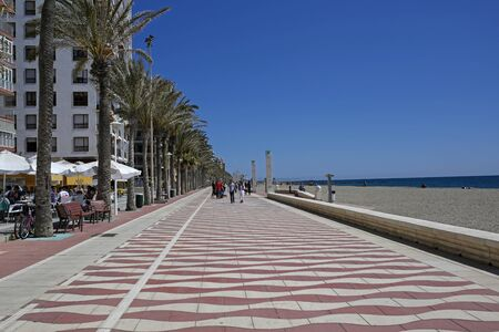 ALMERIA, ANDALUSIA, SPAIN, MARCH 26, 2017: Restaurants and beach on Paseo Maritimo Carmen de Burgos in Almeria.