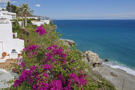 nerja: Beautiful pink flowers and turquoise sea in Nerja- famous resort on Costa del Sol, Malaga, Spain