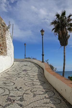 nerja: Promenade in Nerja famous resort on Costa del Sol, Malaga, Spain