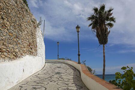 Promenade in Nerja famous resort on Costa del Sol, Malaga, Spain