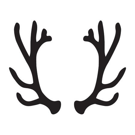 Black silhouette of deer antlers- vector illustration Vettoriali