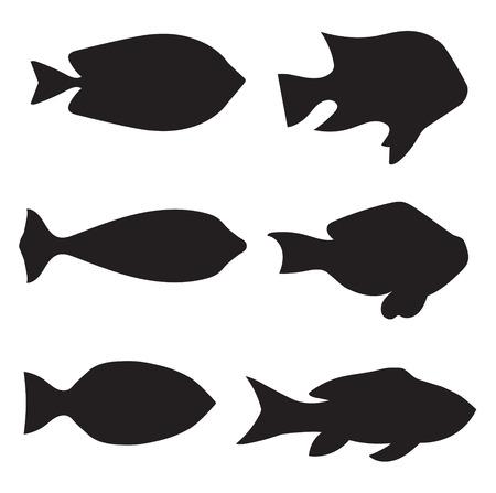 Black fish silhouettes - vector illustration