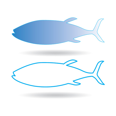 Blue vector icon of fish