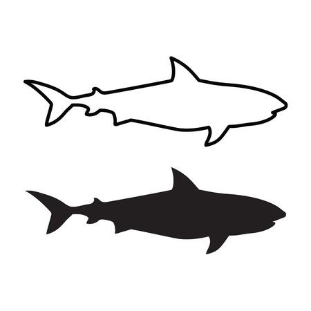 Black shark silhouette- vector illustration Illustration