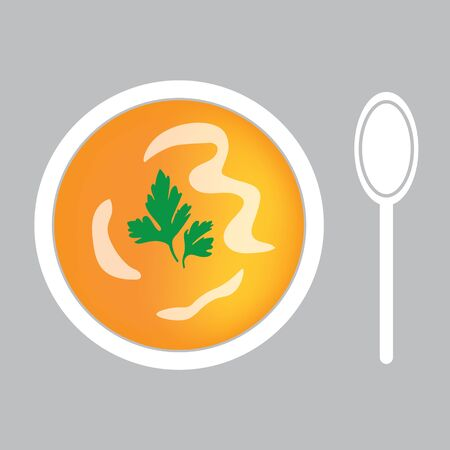 Pumpkin soup with spoon- vector illustration