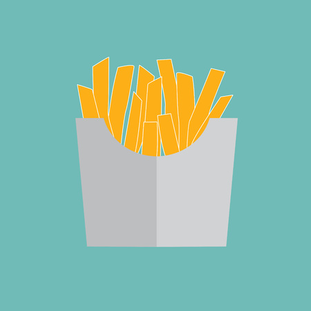 french way: French fries in paper box- vector illustration Illustration