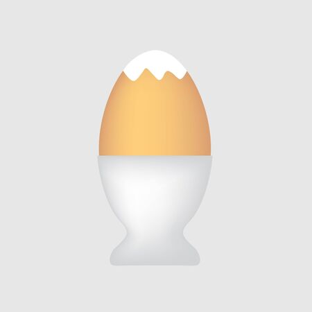 Boiled egg in egg cup- vector illustration