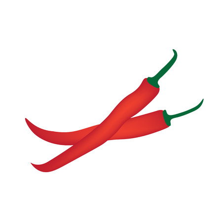 red chilli peppers on white background- vector illustration