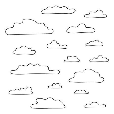 contour noir des nuages ??- illustration vectorielle