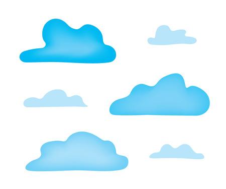 set of blue clouds- vector illustration Illustration