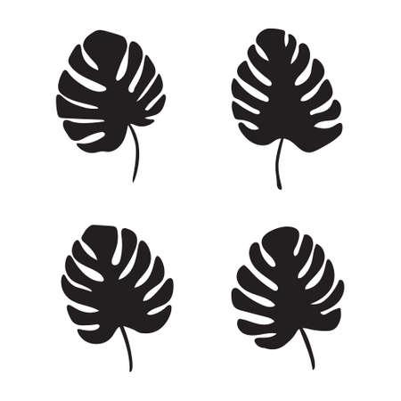 Black palm leaves, Monstera tropical plant- vector illustration Illustration