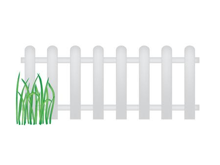 White fence and green grass illustration. Illustration