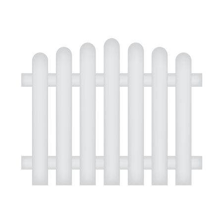 White wooden fence- vector illustration