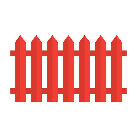 Red wooden fence- vector illustration. Illustration