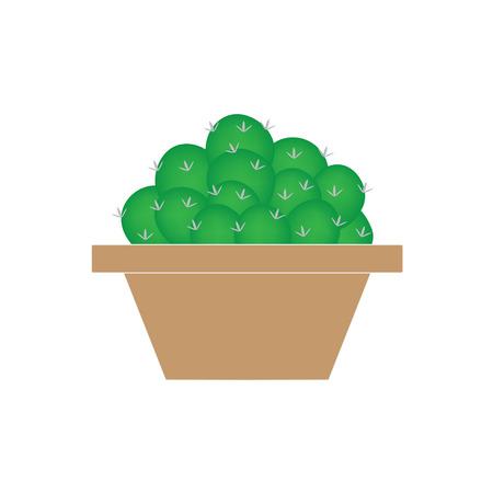 cactus in flowerpot- vector illustration