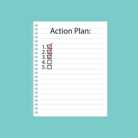 Action plan written in spiral notebook- vector illustration