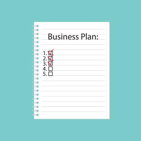 Business plan written in spiral notebook- vector illustration Illustration