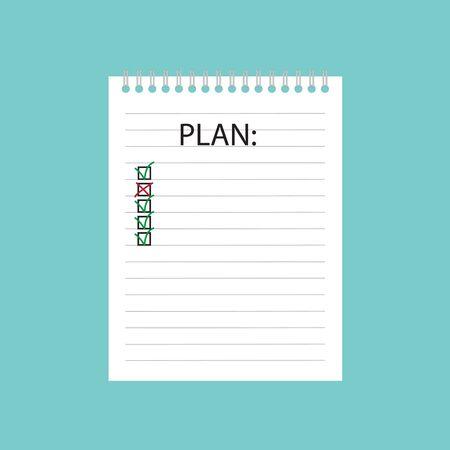plan written in spiral notebook- vector illustration Illustration
