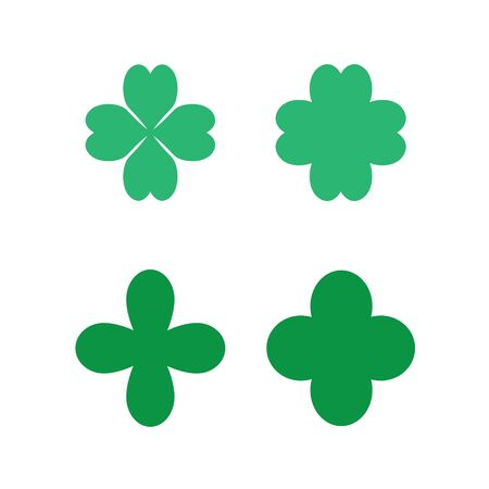 clovers: set of four leaf clovers icons