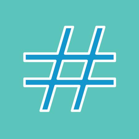 Blue hashtag icon illustration.
