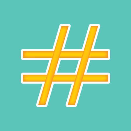 Orange hashtag icon illustration.